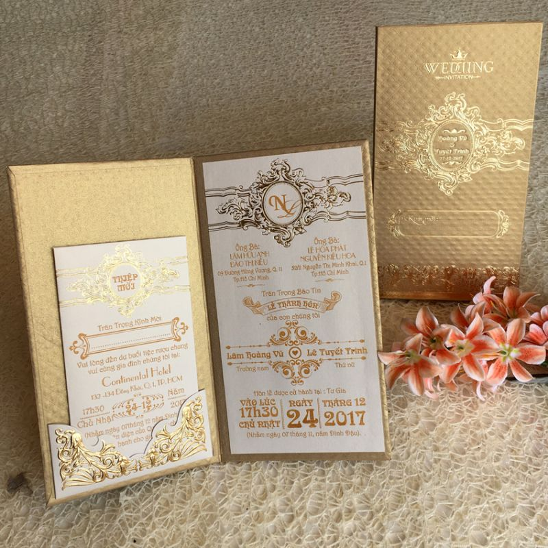 Wedding Invitations Book Type DQ-1823-Gold